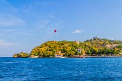 Anadolu Kavagi with Yoros Castle Royalty Free Stock Images