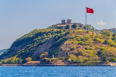 Anadolu Kavagi with Yoros Castle Royalty Free Stock Photography