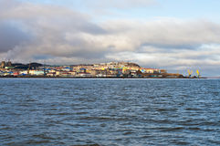 Anadyr. Town view. Town view of Anadyr from ferryboat Royalty Free Stock Image