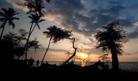 Anaehoomalu海湾的日落看守人 免版税图库摄影