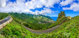 Anaga góry, Tenerife, wyspy kanaryjska, Hiszpania: Taganana i s Obrazy Royalty Free