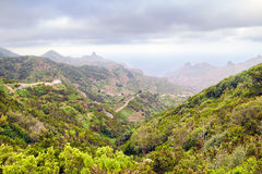 Anaga landscape. In the northeastern tip of Tenerife covered with clouds constrained by the mountain range, Canary islands, Spain Royalty Free Stock Photography