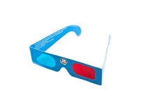 Anaglyph 3D Glasses. Cardboard glasses anaglyph red and blue stock photos