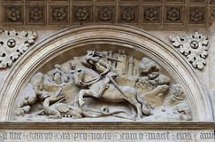 Anaglyph. Of the St George and dragon on the basilica St George on Prague castle. Prague, Czech republic royalty free stock images