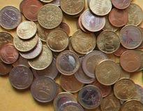 anaglyph 3D beeld van Euro muntstukken, Europese Unie Stock Fotografie