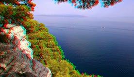 anaglyph 3D E Opini?o azul do mar fotografia de stock royalty free