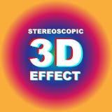 Anaglyph 3D tekst met kleurrijke achtergrond Stock Fotografie