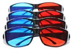 Anaglyph glasses. Isolated on white background royalty free stock images