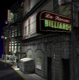 This is an anaglyph image / stereo rendering of a. Street scene. The 3d effect however is only visible with red-cyan-specs (red/blue-googles royalty free illustration