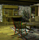 This is an anaglyph image / stereo rendering of. An old fashioned living room. The 3d effect however is only visible with red-cyan-specs (red/blue-googles royalty free illustration