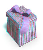 This is an anaglyph image / stereo rendering of a. Gift box. The 3d effect however is only visible with red-cyan-specs (red/blue-googles royalty free illustration