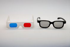 Anaglyph and polarized 3D glasses Royalty Free Stock Image