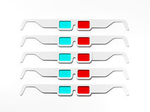 Anaglyph stereo glasses for cinema. 3d rendering Stock Photo