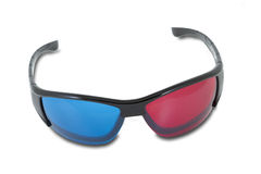 Anaglyph stereoscopic glasses. On white background Royalty Free Stock Images