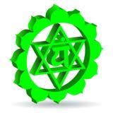 绿色Anahata chakra 库存照片