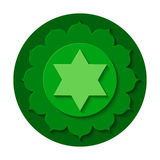 Anahata chakra icon. Vector Anahata chakra icon. Color yoga chakra symbol paper cut out style isolated on white. Great for design, associated with yoga and India vector illustration