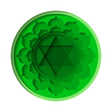 Anahata chakra icon. Vector Anahata chakra icon. Color yoga chakra symbol paper cut out style isolated on white. Great for design, associated with yoga and India stock illustration