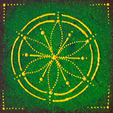 Anahata the heart chakra. Abstract painted seed of life on wood Stock Photos