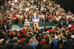 ANAHEIM CALIFORNIA, May 25, 2016: Thousands of Supporters, wave signs and show their support for Presidential Candidate Donald J. Stock Photo
