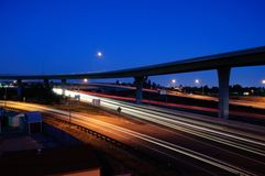 Anaheim Freeway. A look of the 91 freeway in Anaheim at twilight Royalty Free Stock Photos