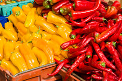 Anaheim hot peppers at the market Royalty Free Stock Photography