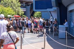 Disneyland, Anaheim, California, USA. The queue for an entertaining attraction. Anaheim, Los Angeles, California, USA - June 13, 2017: Fun on Main Street Stock Image