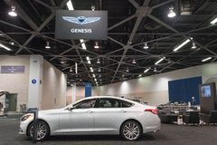 Genesis G80 on display. Anaheim - USA - September 28, 2017: Genesis G80 on display at the Orange County International Auto Show Stock Photos
