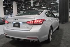 Genesis G80 on display. Anaheim - USA - September 28, 2017: Genesis G80 on display at the Orange County International Auto Show Stock Image