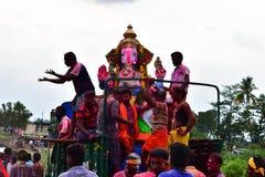 Anaipatti, Tamilnadu -印度- 2018年9月15日:Ganesh Chaturthi Celebrations阁下 库存照片