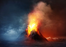 anak ηφαίστειο krakatau της Ινδονησίας έκρηξης Στοκ Εικόνες