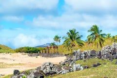 Anakena à l'île de Pâques Photos stock