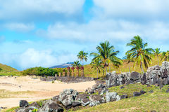 Anakena на острове пасхи Стоковые Фото