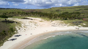 Anakena beach on the Easter Island, Chile stock image