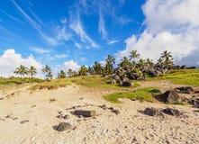 Landscape of Anakena on Easter Island, Chile. Anakena Beach, Easter Island, Chile royalty free stock photography
