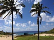 Anakena beach. At the Easter Island, Rapa Nui stock image