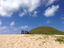Anakena beach. Moai at Anakena beach at the Easter Island, Rapa Nui stock images