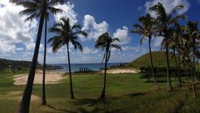 Anakena beach Panorama. Panorama from Anakena beach at the Easter Island, Rapa Nui royalty free stock image