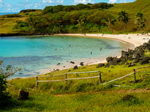Anakena strand i påskön arkivfoto
