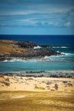 Anakena, una playa coralina blanca de la arena Fotografía de archivo libre de regalías