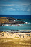 Anakena, a white coral sand beach Royalty Free Stock Photography