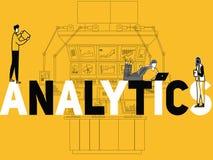 Analítica criativa e povos do conceito da palavra que fazem atividades múltiplas ilustração royalty free