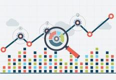 Analítica da Web da otimização e do negócio de SEO Carta com gráfico acima ilustração stock