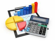 Analítica do negócio. Calculadora e relatórios financeiros. Imagens de Stock