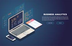 Analítica do negócio e bandeira do desenvolvimento Fotografia de Stock Royalty Free