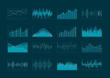 Analítica do negócio e diagramas abstratos das estatísticas Conceito, carta financeira e lote do gráfico da estatística dos dados Foto de Stock