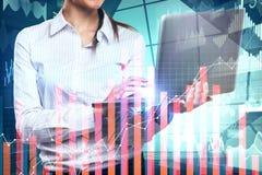 Analítica e conceito da finança foto de stock
