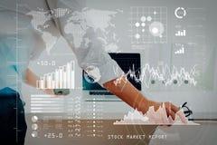 Analítica grande dos dados com conceito da inteligência empresarial (BI) Busin imagens de stock