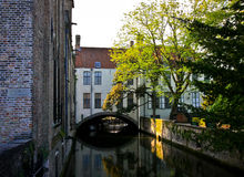 Сanal in Bruges. Beauty and cozy canal in old city Bruges Royalty Free Stock Photography