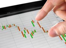 Analisando a carta do mercado de valores de acção Foto de Stock Royalty Free