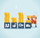 Analisando o custo e financeiro Imagem de Stock Royalty Free